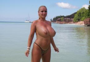 big tits, milf, blonde, public, beach, busty