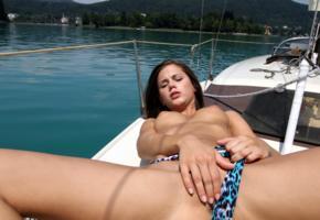 caprice, little caprice, brunette, bikini, boat, naked, tits, puffy nipples, yacht, masturbating