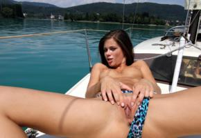 caprice, little caprice, brunette, bikini, boat, naked, tits, puffy nipples, shaved pussy, labia, ass, spread legs, hi-q, spreading pussy, yacht, poppin some lip