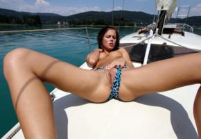 caprice, little caprice, brunette, bikini, boat, naked, tits, puffy nipples, shaved pussy, labia, ass, spread legs, hi-q, yacht