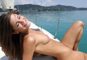 caprice, little caprice, brunette, boat, naked, tits, puffy nipples, hi-q, yacht