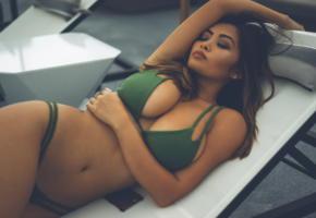 asian, bikini, big tits, boobs, hot, sexy, brunette, decollete, super boobs