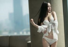 asian, model, lingerie, white lingerie, bra, panties, brunette, boobs, hot, decollete, erotic, lingerie series