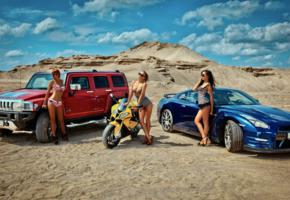 girls, cars, sexy, hot, hummer h3, hummer, bikini, bike