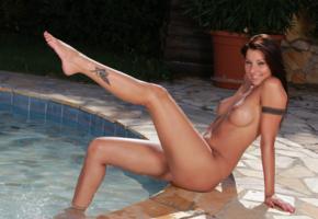 cindy hope, klaudia, brunette, naked, pool, tits, hi-q, graceful bend of foot, tattoo, oiled