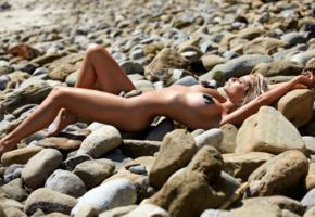 genevieve morton, blonde, model, beach, rocks, naked, big tits, hi-q