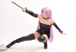 slim, exotic, asian, amateur, model, sexy babe, long hair, pink, wig, posing kneeling, fancy dressed, black, shiny, leather, minidress, gauntlets, overknee boots, erotic, cosplay, fetish babe, high boots, hi-q, minimalist wall