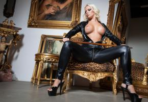 selina, blonde, busty, german, milf, amateur, pornactress, curvy, sexy babe, long hair, posing, sitting, chair, black, shiny, lycra, catsuit, legs, high heels, topless, nice tits, nipples, fake boobs, hot, fetish babe, selina-666, perfect tits