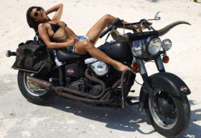 model, brunette, topless, small tits, hard nipples, denim shorts, harley davidson, motorcycle, desert, suzie carina