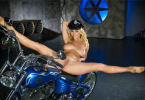 yaryna, blonde, naked, harley davidson, motorcycle, big tits, shaved pussy, labia, ass, spread legs, hat