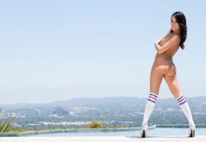 megan rain, brunette, long hair, tits, ass, butt, knee socks, high heels, pool, outdoors, stockings