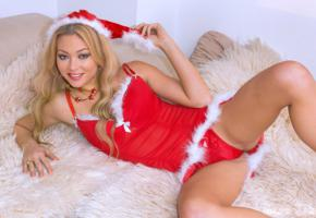 natalia forrest, dirty blonde, christmas, hat, panties, non nude, smile, hi-q, spreading legs