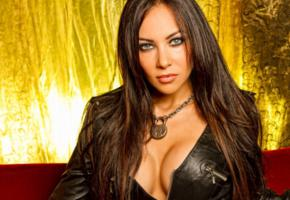 carla harvey, brunette, long hair, butcher babies, low quality, bad quality