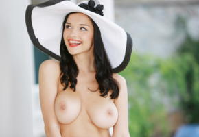 jenya d, eugenia diordiychuk, hat, boobs, brunette, big tits, smile, tits, hot, katie fey, jenya k, yevgeniya diordiychuk, happy, natural beauty, playful