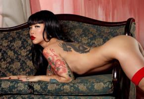 tattoo, masuimi max, naughty nurse, boobs, big tits, ass, red lips, brunette, sofa