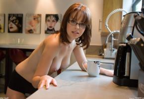 hayden winters, femjoy, glasses, big titties, awesome tits, topless, redhead, kitchen