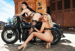 khloe terae, stefanie knight, ass, motorcycle, blue sky, lingerie, models, building, outdoors, playboy, sexy, brunette, blonde, stockings, heels, 2 babes, lesbian, girl girl pics, ass wallpaper