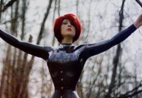 redhead, alternative, short hair, pale skin, tight clothes, latex, catsuit, fullsuit, corset, wasp tail, fetish babe, red lips, hi-q, shiny, rubber, fetish