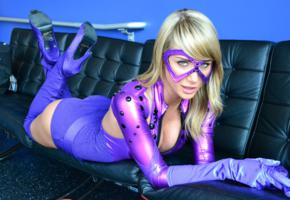 sara jean underwood, american, playmate, model, cosplayer, sexy babe, celebrity, starlet, laying, sexy dressed, masked, shiny clothes, overknee boots, decollete, tight clothes, cosplay, fetish babe, sara jean, funny, babes in boots