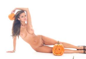 dana harem, brunette, long hair, naked, boobs, tits, nipples, trimmed pussy, high heels, pumpkin, halloween, anezka, dana hatonova