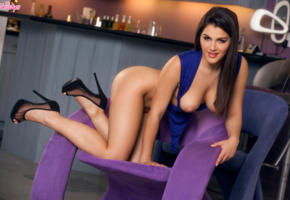 valentina nappi, brunette, long hair, topless, semi nude, boobs, tits, nipples, doggy, sexy, high heels