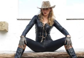 lady ann, german, mistress, milf, long hair, amateur, outdoor, tight clothes, leather, belt, pants, gloves, hat, knee boots, hi-q, fetish babe, cowgirl, ann