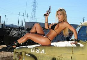 valarie cormier, blonde, army jeep, non nude, bikini, big tits, gun, high heels, valerie cormier, actiongirls, valerie c, action girls, boobs