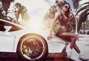 girl, brunette, long hair, lambo girl, widescreen cut, lamborghini, sunglasses, jeans shorts, tropics, palm