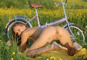 mango, katya clover, sexy, nude, caramel, clover, katyaclover, mango a, bike, legs, feet, butt, pussy, labia, flowers, field, bicycle, ass, doggy