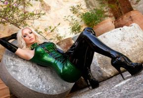 susan wayland, non nude, tight, green dress, high heels, hi-q, german, alternative, fetish supermodel, fetish babe, shiny, rubber, fetish, plateau heels, busty, cunt, posing, sitting, tight clothes, green, minidress, black, stockings, gloves, shiny clothes, erotic, legs, lingerie series