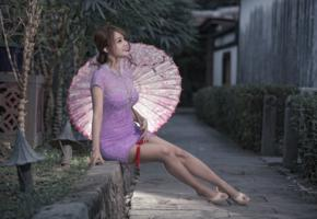 girl, asian, sweet, cute, sensual, umbrella, sexy legs, shoes, heels, pink dress