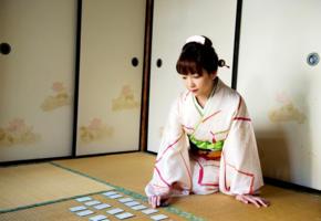 azusa kirihara, tatami, kimono, karuta, new year, asian
