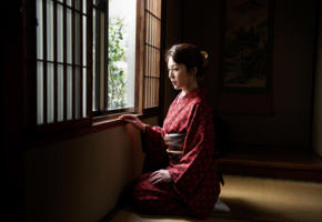 misa yuuki, tatami, kimono, light window, japanese whore