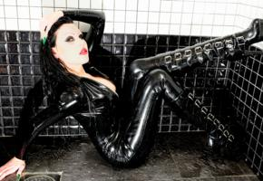 necrinity, alternative, slim, pale skin, crazy hairstyle, long hair, posing, shower, latex, catsuit, fullsuit, pvc, plateau heels, knee boots, shiny, rubber, fetish, fetish babe, wet hair, tight clothes, babes in boots