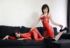 2 babes, slim, adult model, posing, tight clothes, latex, catsuit, fullsuit, two, fetish babe, pvc, ballet boots, high heels, shiny, rubber, fetish, lesbian, girl girl pics