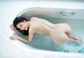 asian, naked, ass, bath, zhengrui xi, hot, ass wallpaper, hi-q, bathroom, bathtub, doggy, brunette, sexy, red lips