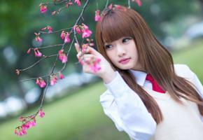 girl, asian, sensual, sweet, cute, brunette, long hairs