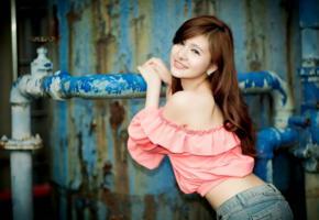 girl, asian, sweet, cute, smile, jeans, brunette