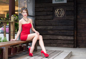 asian, sexy, cute, mini dress, shoes, red, heels, sweet legs, red dress, high heels, sexy legs, ultra, hi-q, exotic, model, tight clothes, best quality