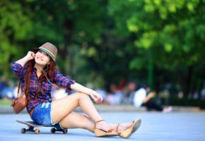 girl, asian, sweet, cute, smile, legs, shoes, shorts, hat, skateboard, vietnamese