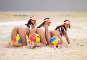 deny moor, melisa mendiny, suzie carina, three, ass, pussy, sand, ball, beach, hat, smile, 3 babes, girl girl pics, hi-q, hot, ass wallpaper