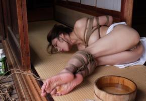 kyoko kazama, kinbaku model, tatami, tied, submissive, bondage, crotch rope, asian, submissive girl, fetish babe, pussy