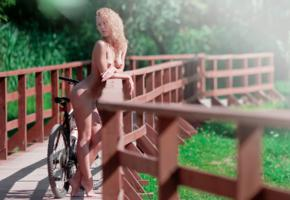blonde, nude, passage, mountain bike, bike, byke, tits