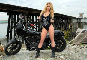 maya rae, blonde, non nude, swimsuit, motorcycle, outdoors, hi-q