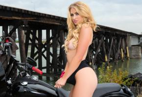 maya rae, blonde, semi naked, motorcycle, swimsuit, topless, tits, outdoors, hi-q, boobs