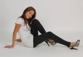 girl, sweet, cute, leggings, shoes, brunette, tight clothes