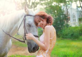 girl, asian, sweet, cute, smile, horse, outdoors
