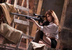 girl, asian, sexy, sweet, cute, blouse, skirt, stockings, garterbelt, sniper rifle, gun