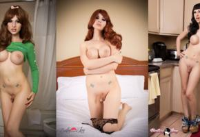 tranny, ladyboy, shemale, boobs, bailey jay, big tits, dick, cock, collage, kitchen