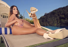 pool, brunette, heels, legs, vagina, pussy, labia, spreading pussy, ass, august ames